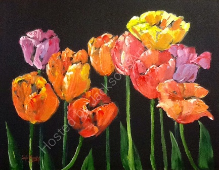 Tulips in acrylics