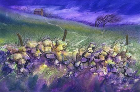 Windswept dry stone wall in mixed media