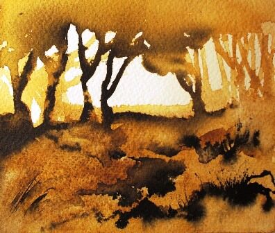 Trees loosely painted in watercolour