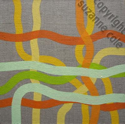 'Yellow, orange, green, blue'<br> oil on sized linen 30x30cm