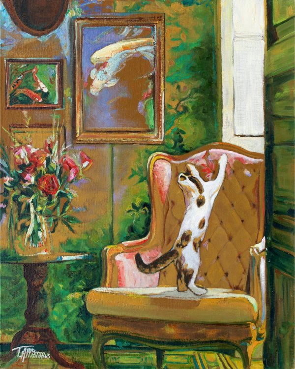 Kitten in a study with fish pictures