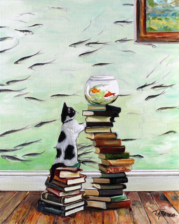 Kitten with fishbowl & books