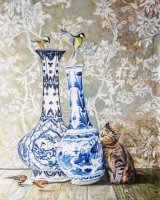 Oriental vase with Kitty and birds