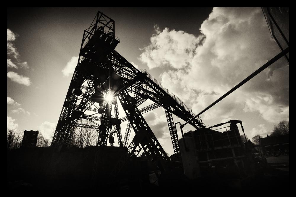 Astley Green coal mine, pit-head gear.