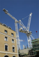 Cranes  on New  building  site, Cambridge,U.K.