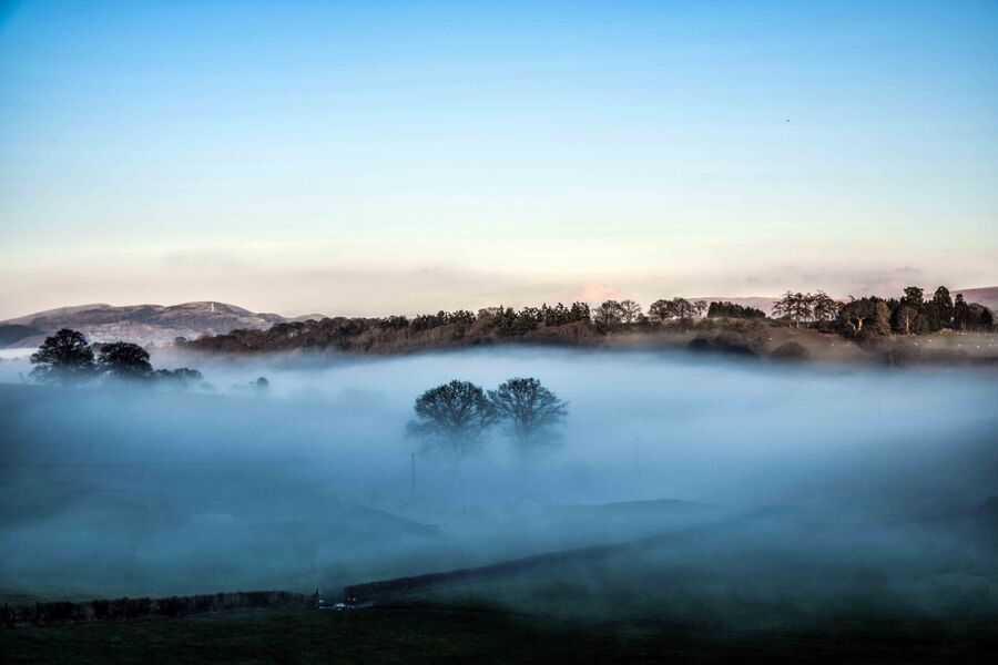morning mist in a welsh valley