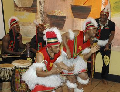 African dancing at `Starbucks` Birmingham