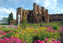 The newly reconstructed Elizabethan garden at Kenilworth castle, U.K.
