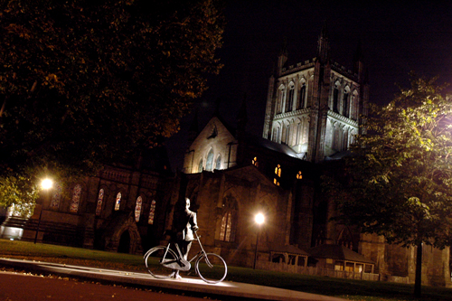 Hereford cathedral by night