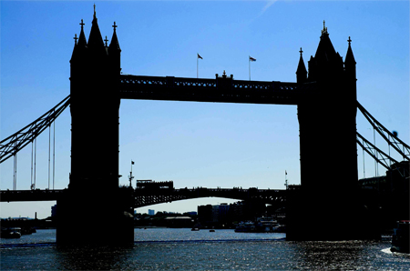 Silhouette  of Tower Bridge, London, U.K.