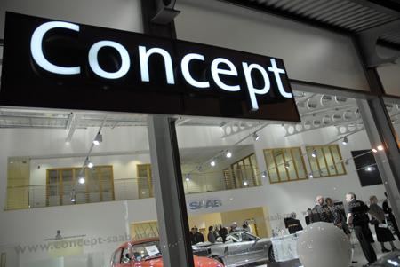 Concept Saab new showroom at night.