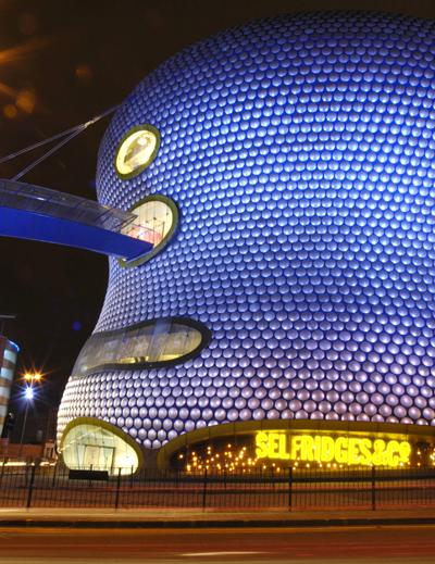 Night shot of Selfridges building, Birmingham