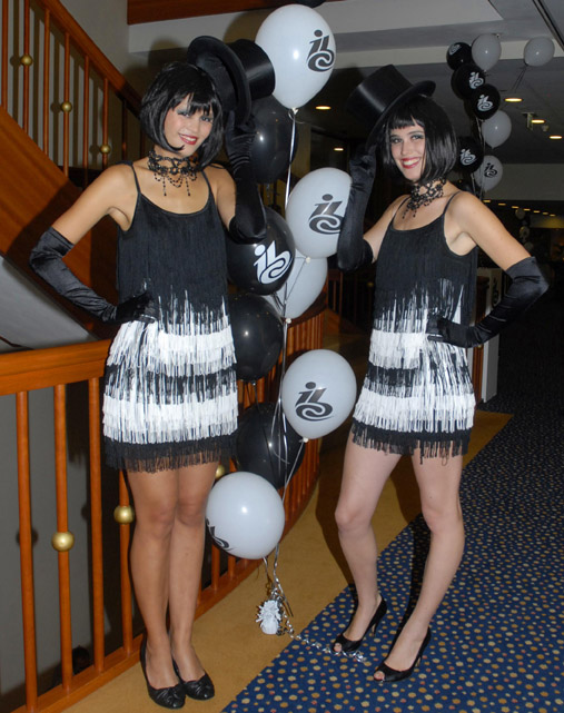 `Meet & Greet`  Roaring 20`s costumed girls at Corporate event party.