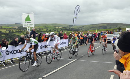 Leaders in Tour of Britain 2012 Stage 6, over the Brecon Beacons. King of the Mountain  section