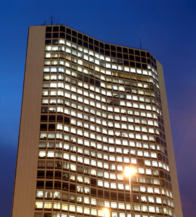 Alpha Tower offices at dusk