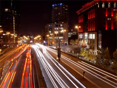 Traffic trails at night in Birmingham City centre