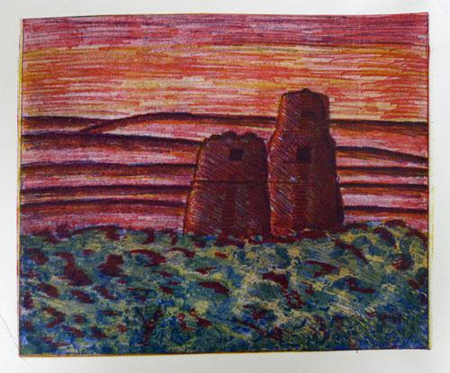 Maya sun - three-plate colour etching