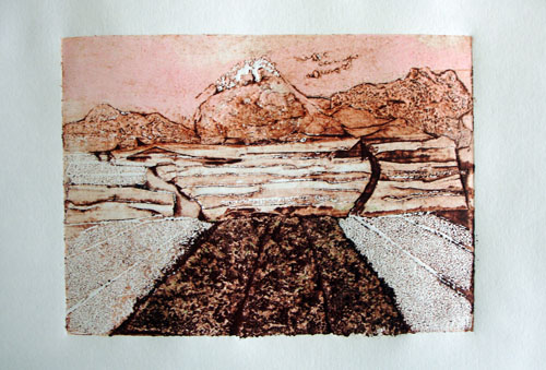 Tea fields to Fuji - collagraph