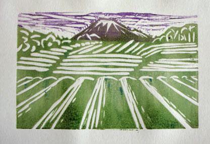 Tea fields to Fuji - multicoloured linocut