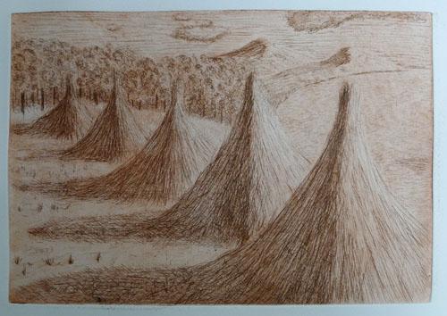 Titicaca Haystacks - etching