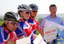 Lord Coe starts the race with athletes from the UK Mountain Bike team