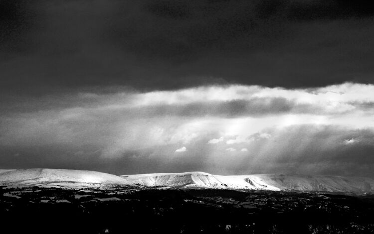 IMG 2730 Snow Covered Black Mountains BW