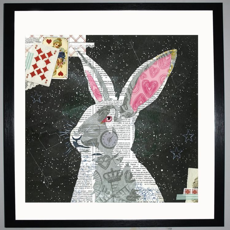 White Rabbit Collage by Clare Thompson
