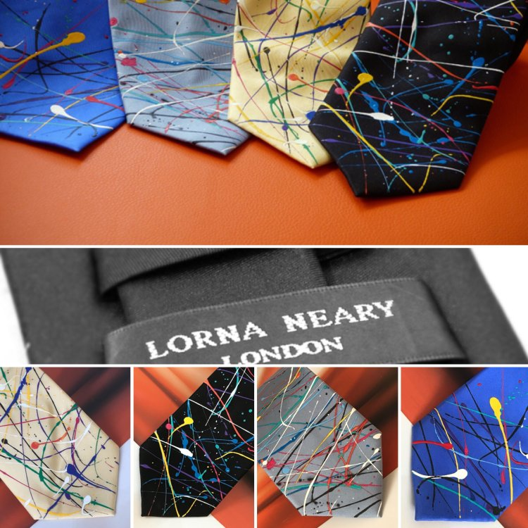"Hand Painted Silk Tie by London Designer ""Lorna Neary"""