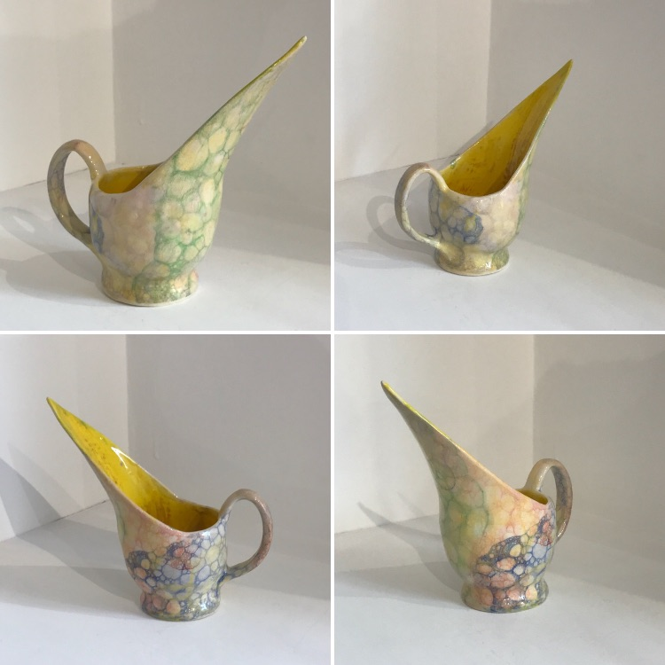 Contemporary Ceramic Art by Galea Belinscaia (Med Yellow Jug) Height 17 cms (Click & Collect ONLY)
