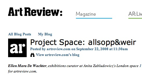 ArtReview Project Space, 2008