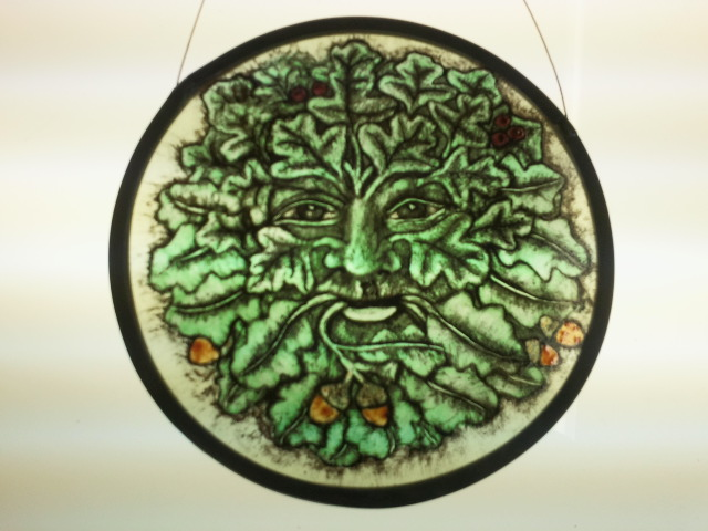 Green Man - traditional glass painting