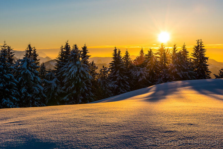 Picture of the Month - February 2015 - Sunset over the Bernese Alps, Switzerland