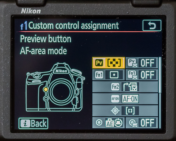 My D850 'f1 Custom control assignment' menu screen