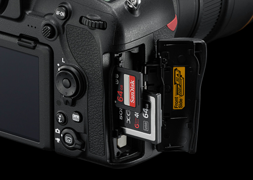 The D850 supports both XQD and fast UHS-II SD memory card formats