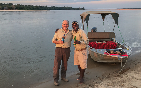 Sundowners with our guide Ernest - Rufiji River, Selous Game Reserve