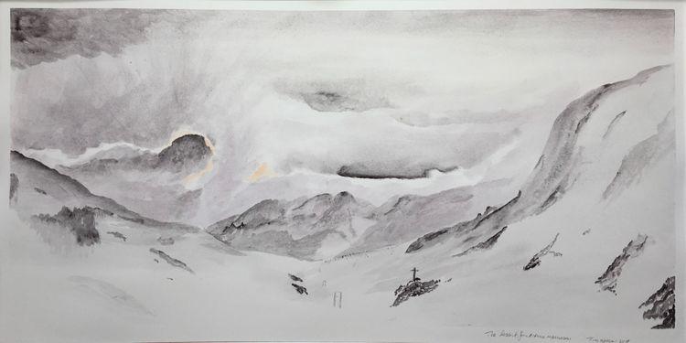 The Descent from the Rifugio Margaroli. 57 x 30cm