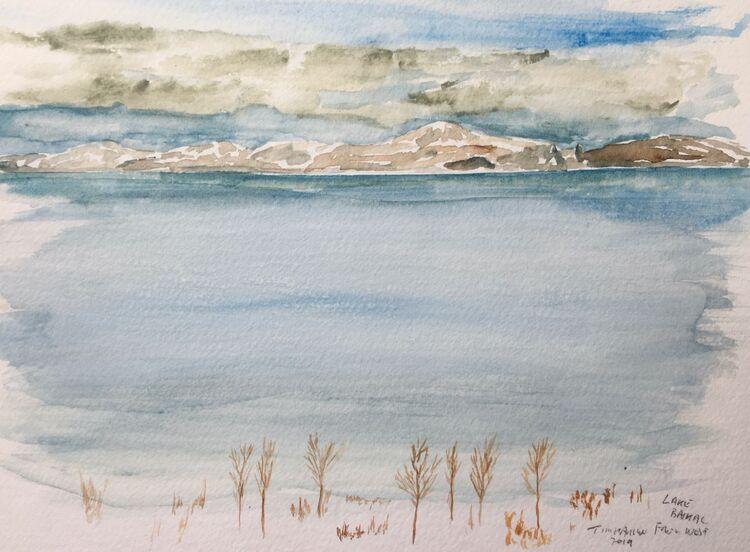 Lake Baikal form the West.  20 x 15cm