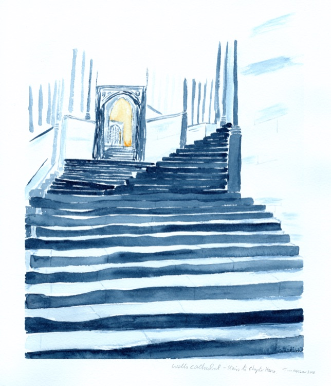Wells Cathedral-stairs to the Chapter House- 24 x 29cm. (NFS)