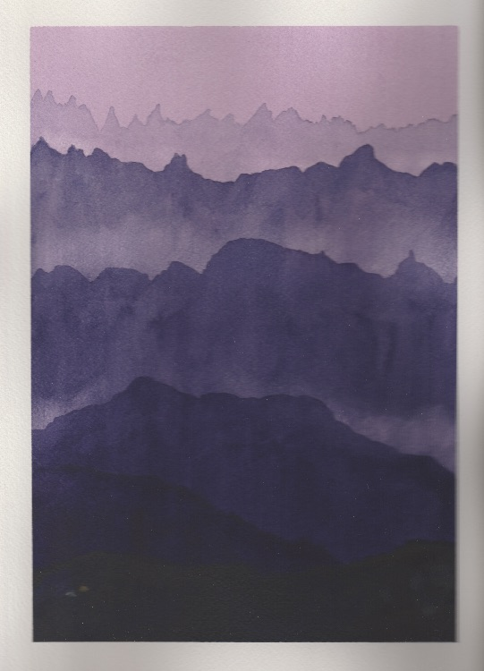 Purple Mountains. 18 x 26cm