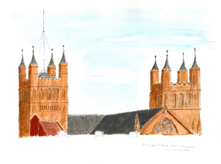 Exeter Cathedral from NW. 28 x 19cm