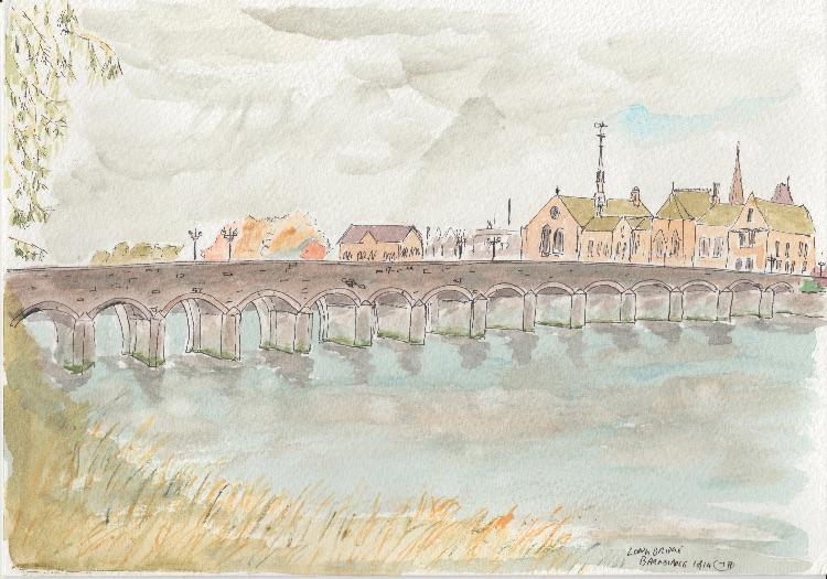 Barnstaple Bridge. 25 x 18cm