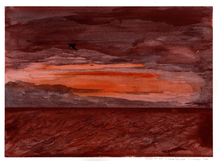Sunset on the way to South Georgia. 21 x 31cm