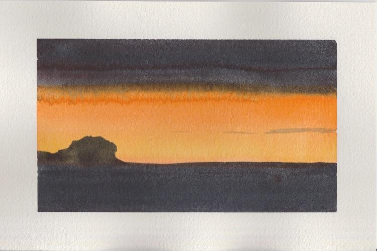 Dartmoor Sunset 1.  18 x 11cm
