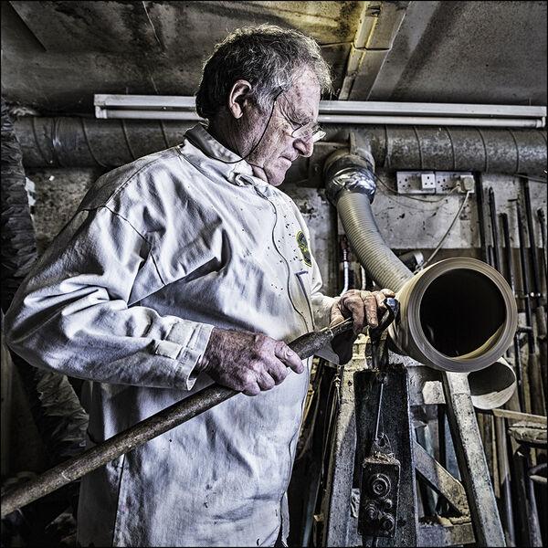 Tim working on the lathe