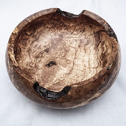 Natural Edge Olive Wood Hollow Form with Burr £65