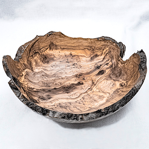 Natural Edge Olive Wood Bowl with Burr £60