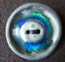 peacock blue button brooch