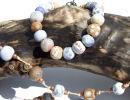 blue beaded bracelet and necklace