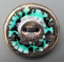 dark turquise bronze button brooch