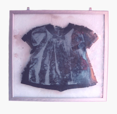 'Impression' - screen-printed image on glass with burnt cloth, fused inside glass layers.